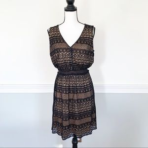 Black Lace Dress with Nude Under Slip